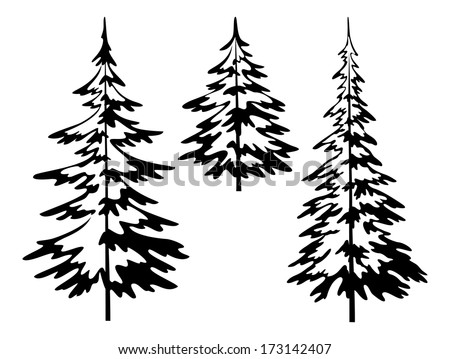 Christmas fir trees, symbolical pictogram, black contours isolated on white background. - stock photo