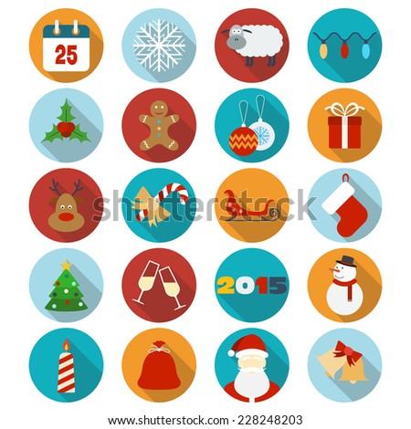 Christmas flat icons set. Raster version - stock photo