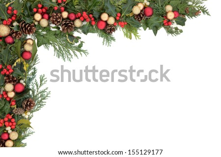 Christmas floral background border with red and gold bauble decorations, holly, mistletoe, ivy and winter greenery. - stock photo