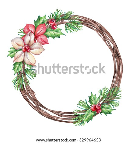 Christmas floral wreath, round frame, blank banner, poinsettia clip art, watercolor illustration isolated on white background - stock photo