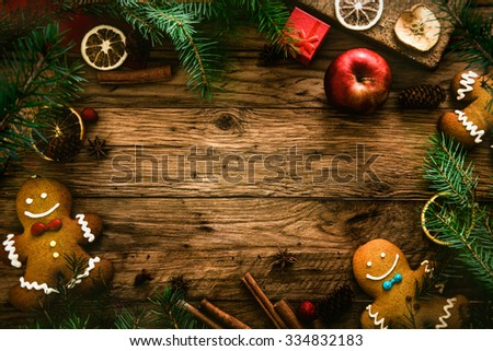 Christmas food. Gingerbread man cookies in Christmas setting. Xmas dessert - stock photo