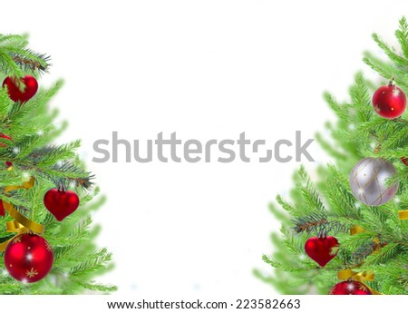 christmas frame background with decorated fir tree twigs on white - stock photo