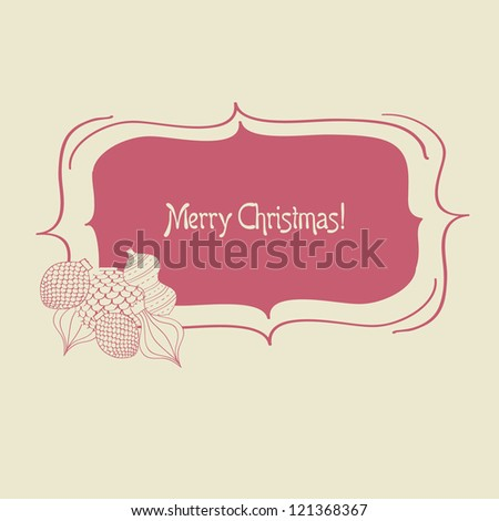 Christmas frame with vintage fir-tree toys, jpeg version - stock photo