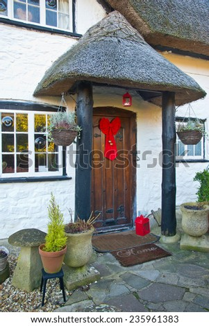christmas front house - stock photo