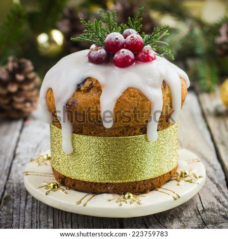 Christmas fruitcake decorated with icing and berries, square image - stock photo