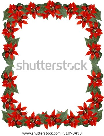 Christmas full border frame of artificial red poinsettia flowers with green leaves. Isolated on white with copy space or room for additional image center. Vertical composition. - stock photo