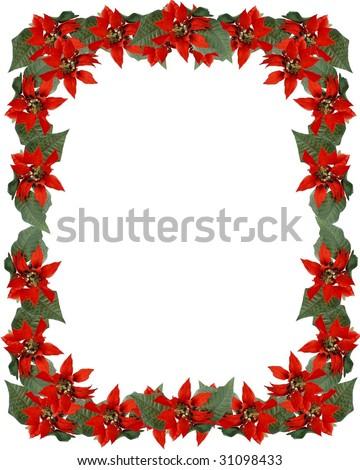 Christmas full border frame of poinsettia flowers - stock photo