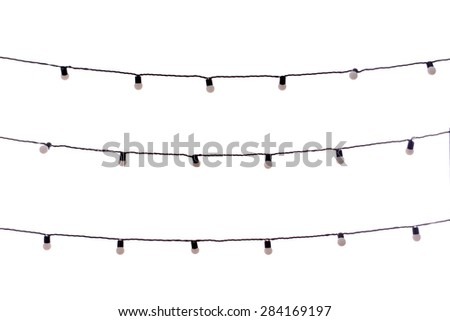 Christmas garland bulbs isolated on white - stock photo