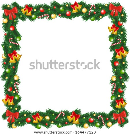Christmas garland frame with bells, bauble and sugar canes - stock photo