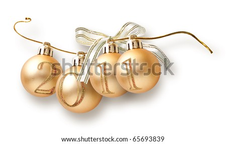 Christmas garland from balls with numbers of year - stock photo