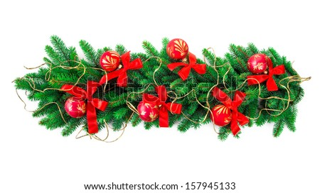 christmas garland over white background - stock photo