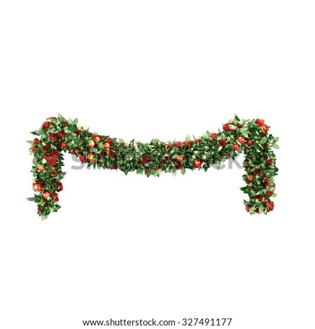 Christmas garlands decorated with red velvet bows - stock photo