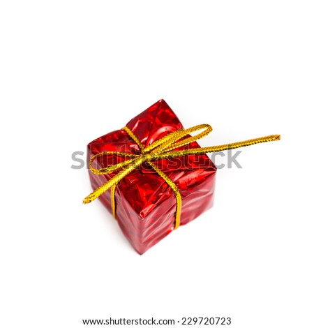Christmas gift box on white background. - stock photo