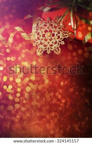 Christmas gift box with christmas balls - stock photo