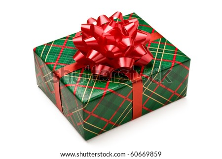 Christmas gift box with red bow isolated on white background. - stock photo