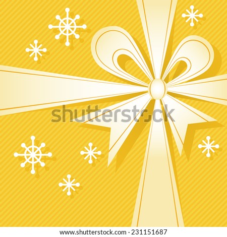 Christmas gift box with ribbon, bow, snowflakes. Festive background for invitation, greeting card. Simple abstract holiday decorative winter illustration for print, web - stock photo