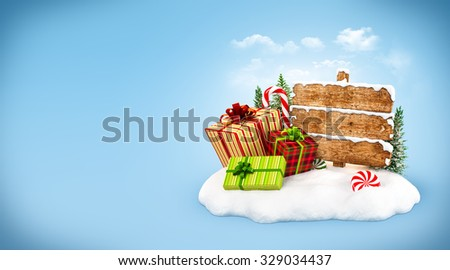 Christmas gift boxes, candies and empty wooden sign on snowdrift at blue background. Unusual christmas illustration - stock photo