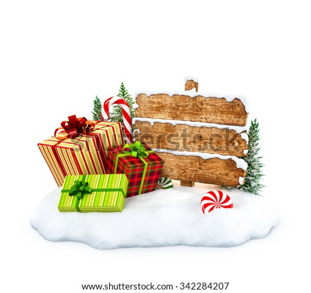 Christmas gift boxes, candies and empty wooden sign on snowdrift at white  background. Unusual christmas illustration - stock photo