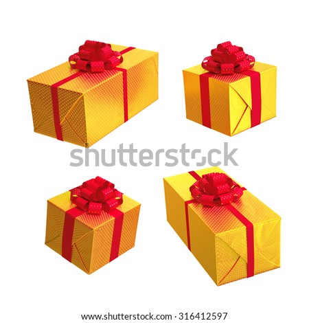 Christmas gift boxes wrapped in gold paper with red ribbon and bows, 3d illustration - stock photo