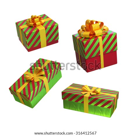 Christmas gift boxes wrapped in green red paper with yellow ribbon and bows, 3d illustration - stock photo
