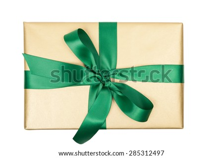 christmas gift golden top view isolated - stock photo