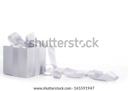 Christmas gift isolated on white background - stock photo