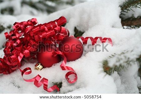 Christmas gift on the tree outside - stock photo