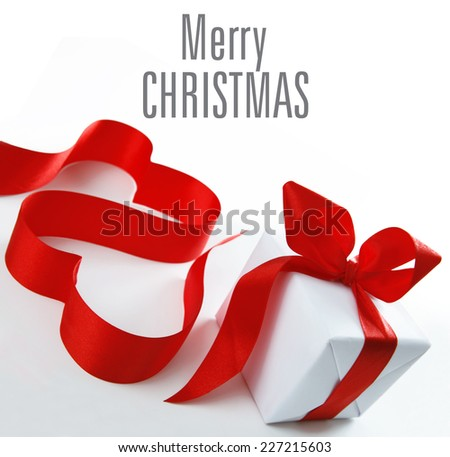 Christmas gift, red present - stock photo