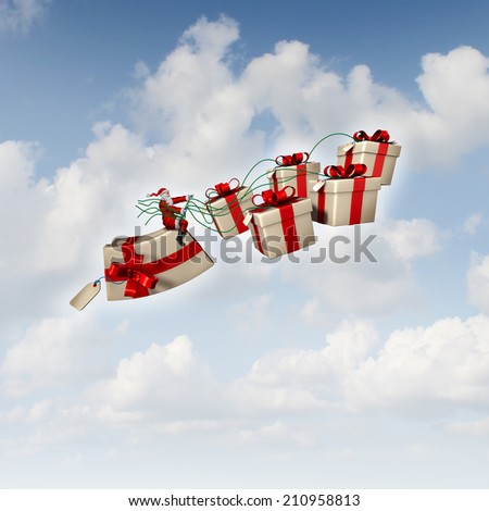 Christmas gift sled or santa sleigh concept as Santaclause riding a group of presents with holiday ribbons as a symbol of giving and seasonal festive icon for delivering joy to good boys and girls. - stock photo