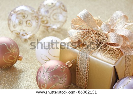 Christmas gift with christmas balls - stock photo