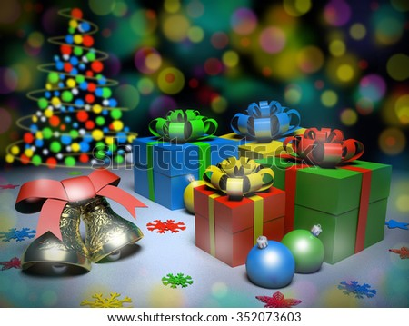 Christmas gifts and bells on the snow, 3d render. - stock photo