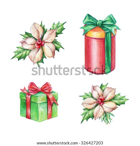 Christmas gifts and poinsettia flowers design elements, watercolor illustration isolated on white background - stock photo