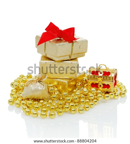 Christmas gifts in a brilliant box with decoration, isolated on white - stock photo
