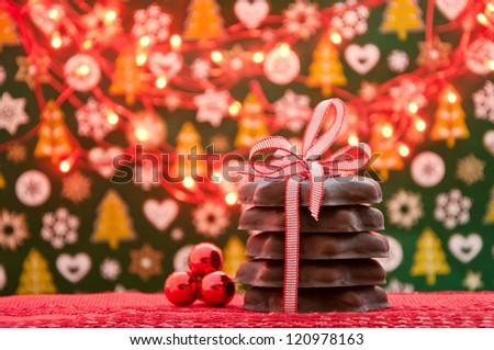 Christmas gingerbread and christmas lights - stock photo