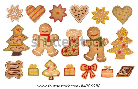 Christmas gingerbread cookies - stock photo