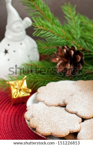 Christmas gingerbread cookies and christmas decorations, selective focus, vertical - stock photo