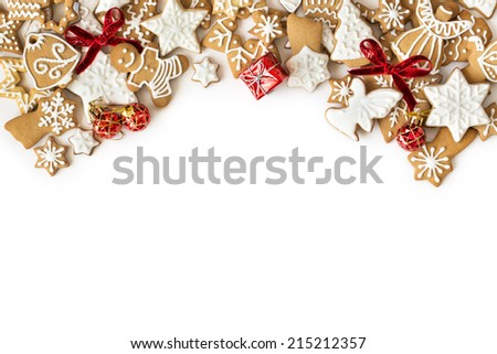 Christmas gingerbread cookies frame on white background. Snowflake, star, man, angel shapes. - stock photo