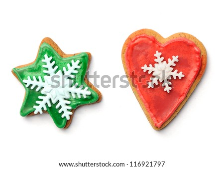 Christmas gingerbread cookies isolated on white - stock photo