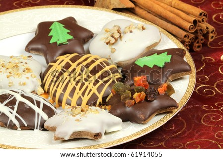 Christmas gingerbread cookies - traditional Xmas sweets - stock photo