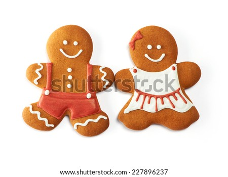 Christmas gingerbread couple cookies isolated on white - stock photo