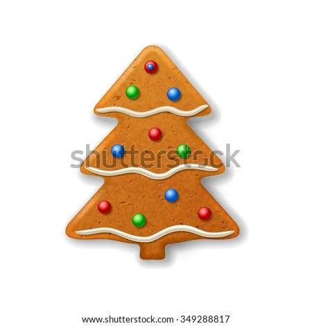 Christmas gingerbread fir-tree, decorated colored icing  - stock photo