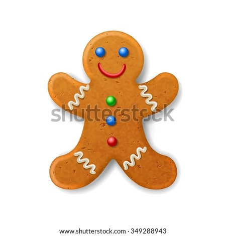 Christmas gingerbread man, decorated colored icing  - stock photo