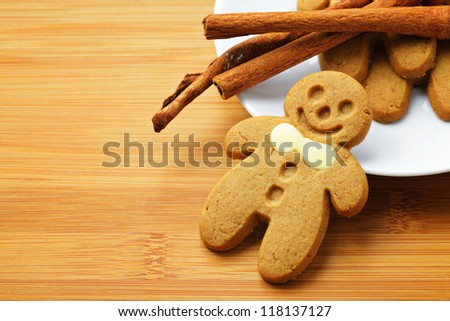 Christmas gingerbread men - stock photo