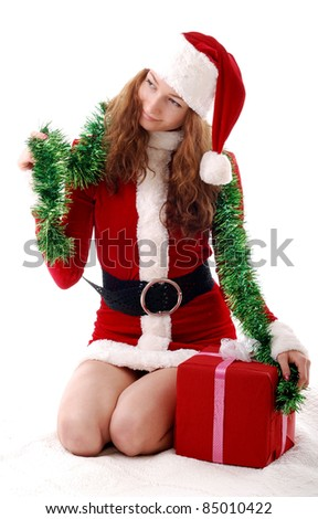 Christmas girl with a gift. - stock photo