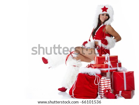 Christmas girl with gifts - stock photo