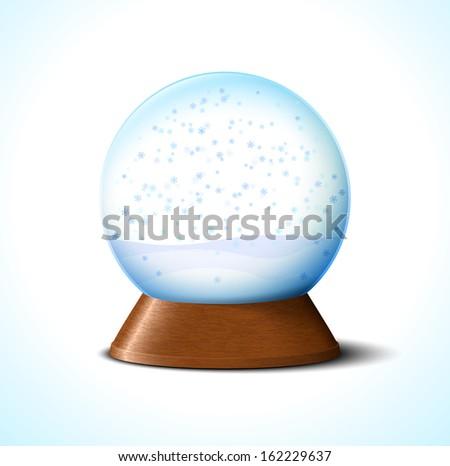 Christmas glass snow ball with snowflakes on white - stock photo