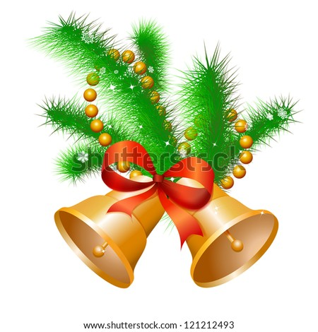 Christmas gold hand bells with a red bow on a fir-tree branch. - stock photo