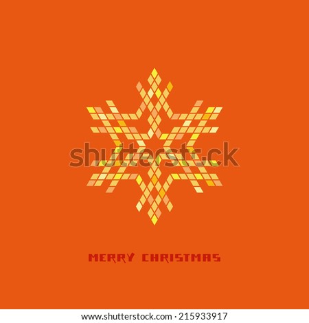 Christmas gold snowflake icon made from rhombuses. Simple design element. Decorative illustration in geometric style for print, web - stock photo