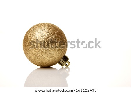 christmas, golden christmas bauble  isolated with white background - stock photo