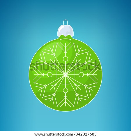 Christmas Green Ball with Snowflake , Christmas Ball  on a Blue Background , Christmas Tree Decoration,  Merry Christmas and Happy New Year - stock photo